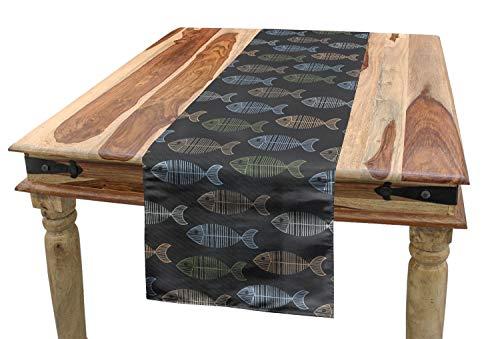 Ambesonne Fish Table Runner, Vintage Geometric Animal Design with Lines Retro Marine Pattern Fish Skeleton Image, Dining Room Kitchen Rectangular Runner, 16