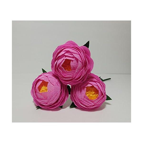 Crepe Paper Flowers Paper Peony Bouquet For Home Decoration/Wedding Decor 3pcs (Pink)
