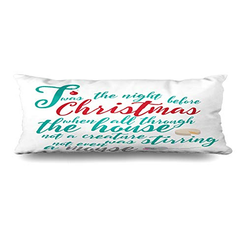 Ahawoso Zippered Body Pillow Cover 20x60 Inches Holiday Story TWAS Night Before Sleigh Christmas Text Poem Part 1 Animals Pretty Wildlife Holidays Decorative Cushion Case Home Decor Pillowcase