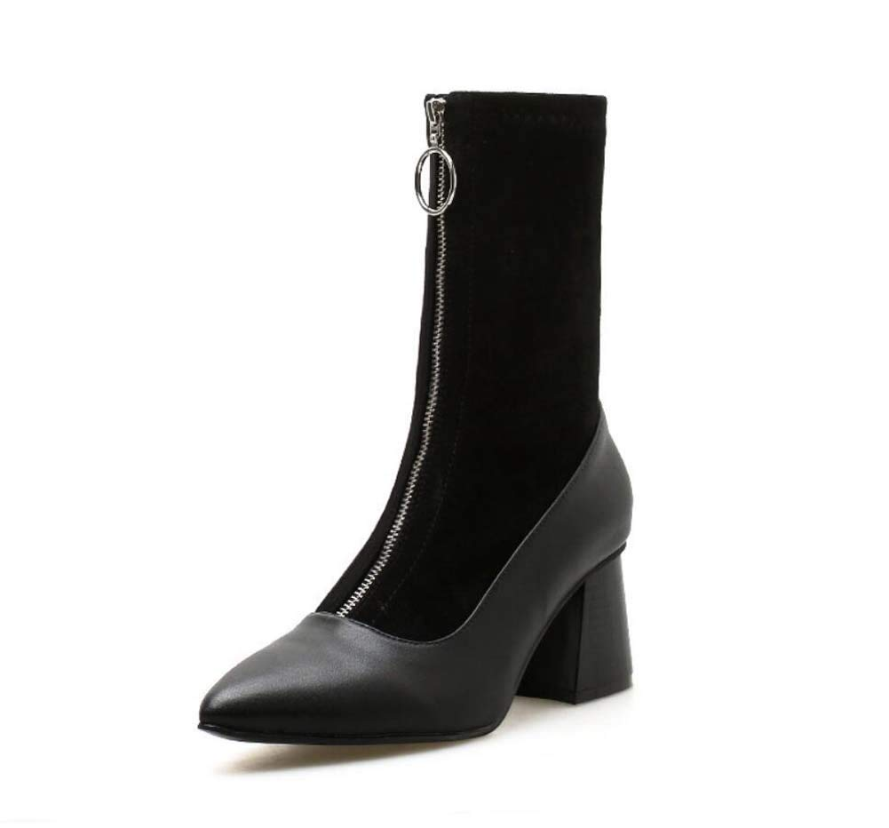 Mamrar Damens Stiefelie Knight Stiefel 7Cm Chunkly Heel Spitze Zehen Knöchelstiefel Nähen Reißverschluss Lässige Hofschuhe EU-Größe 35-40