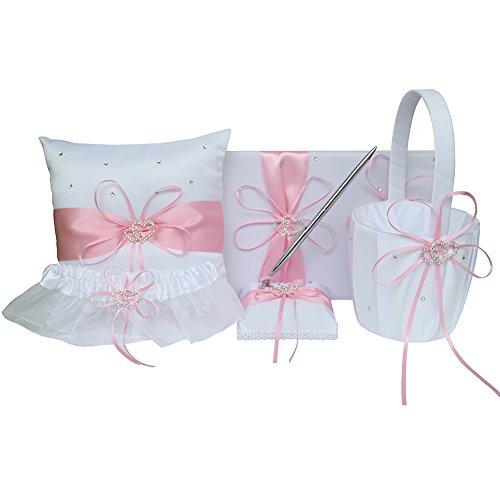 ARKSU 5pcs Wedding Sets Flower Girl Basket + Ring Bearer Pillow + Guest Book Pen + Pen Set Holder + Bride Garter Rustic Bridal Wedding Shower Ceremony Anniversary-Pink