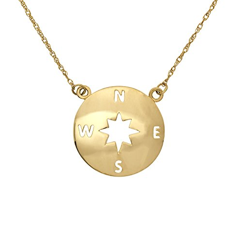 JewelExclusive 10K Yellow Gold Compass Necklace,18