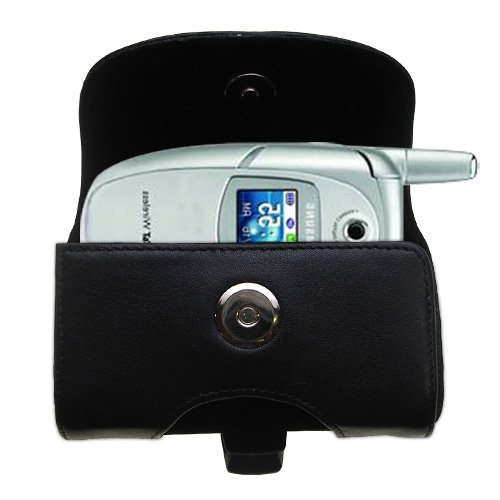 Belt Mounted Leather Case Custom Designed for the Samsung SGH-E316 / E317 - Black Color with Removable Clip by Gomadic
