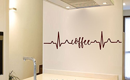 Coffee with Heartbeat Vinyl Wall Words Decal Sticker Graphic