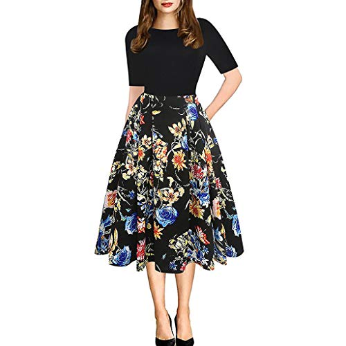 Bachelorette Party Dvd Game - Garish  Women's Plus Size Dress(S-L3) Party Dress,Casual Tutu Dress,Retro Flora Print, O Neck Mid Sleeve Midi Dress Yellow