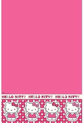 Hello Kitty rosa flores fiesta de cumpleaños mantel: Amazon ...