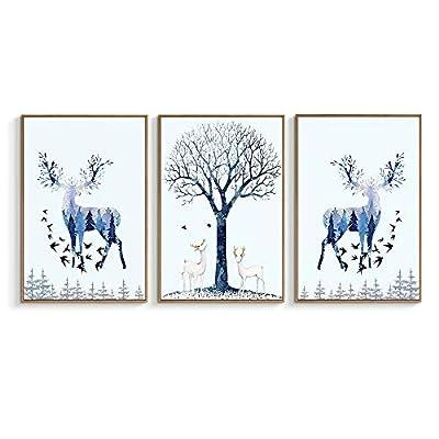 Deer Birds Trees With Blue - 3 Panel Framed Canvas