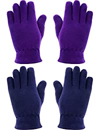 SATINIOR 2 Pairs Kids Gloves Full Fingers Gloves Fleece Mittens Gloves Winter Warm Gloves for Little Girls Boys Supplies (12-17 Years Size, Color Set 2)