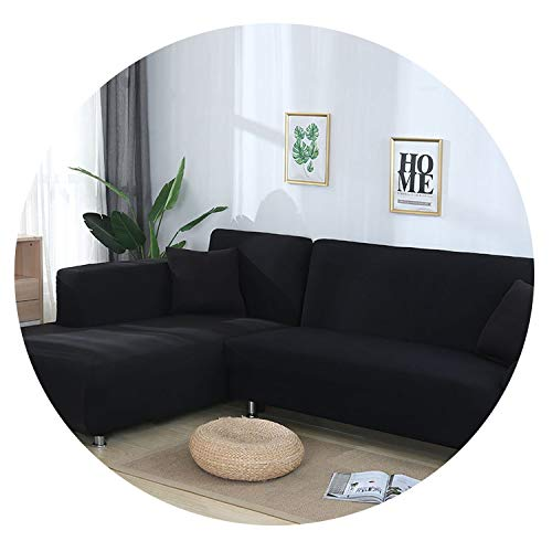 Dream-catching Grey Color Elastic Couch Sofa Cover Loveseat Cover Sofa Covers for Living Room Sectional Sofa Slipcover Armchair Furniture Cover,Black,3-Seater 190-230cm (Furniture Room Ontario London Dining)