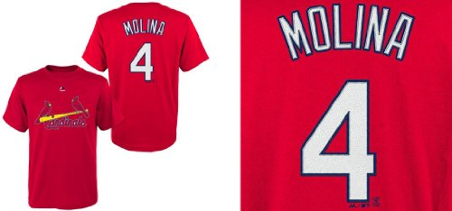 (Majestic Yadier Molina St. Louis Cardinals Red Youth Jersey Name and Number T-shirt Small)