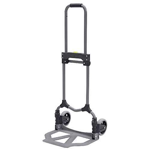 Hand Truck Trolley Fold Household Pull Rod Trolley Mute Rubber Wheel Shopping Climb The Stairs Trolley Load-Bearing 70KG (Size : 2 Rounds)