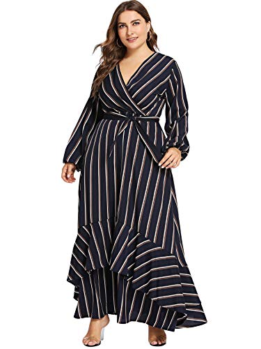 Milumia Plus Size Summer Floral Printed Wrap V Neck Maxi Dress Empire Waisted Dress 3Black 3XL