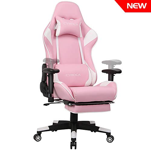 Cyrola Racing Gaming Chair Pink for PC Gamer High Back 90-180 Adjustable Video Game Chair for Adults 360 Swivel Large Size Ergonomic Computer Office Gaming Chair with Footrest Armrest Lumbar Support