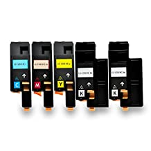 Ouguan Ink 5PK (2Black, 1Cyan, 1Magenta, 1Yellow) Combo Set Toner Cartridges for Dell 1250c 1350cnw 1355cn 1355cnw C1760nw C1765nf C1765nfw Printer Series, Pages Yield: Black-2,000 & Color-1,400