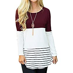 72870849706c3 Sherosa Women s Casual Wear Striped Tops Crew Neck Back Lace Shirts (Wine  Red