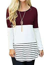 Women's Casual Color Block Lace Inset Long Sleeve T Shirt...
