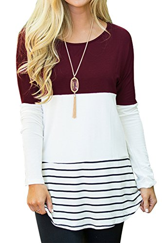 Sherosa Women's Casual Wear Striped Tops Crew Neck Back Lace Shirts (Wine...