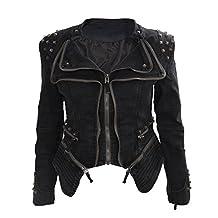 SODIAL(R)Women Denim Jacket Punk Style Rivet Studded Lapel Coat Black S