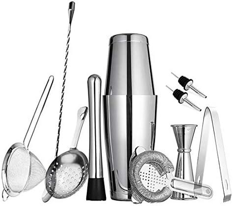 11-teiliges Boston Cocktail Shaker Set für professionelle Bartender und Home Bar: 2 gewichtete Shaker Dosen, Sieb-Set, Messbecher, Eisstößel & Zange, Rührlöffel und 2 Likörausgießer Essbesteck Silber