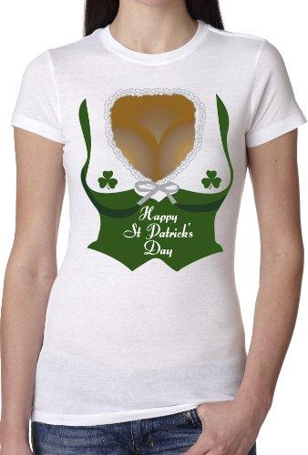 Crazy Dog T-Shirts Womens Irish Barmaid Clevage T-Shirt Funny Saint Patricks Day Shirts (White) 3XL