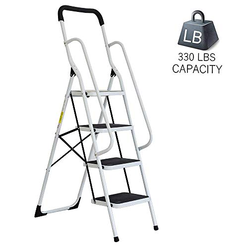 (Dporticus Portable Anti-Slip 4 Step Ladder with Wide Pedal and Sturdy Handrails Folding Safty Steel Step Stool Multi-Use for Household,Market, Office)