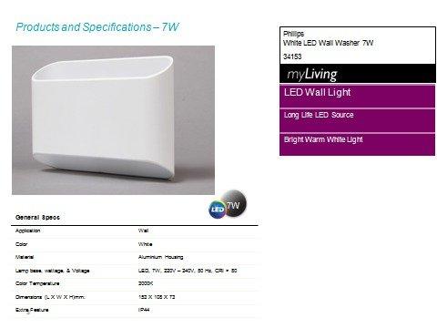 Philips 34153 7-Watt LED Wall Light (White): Amazon in: Home