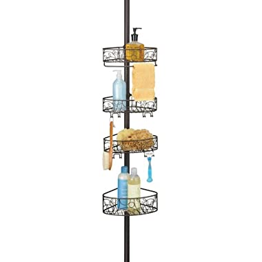 InterDesign Twigz Bathroom Constant Tension Shower Caddy Pole for Shampoo, Conditioner, Soap - Bronze