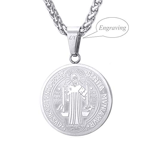 U7 Saint Benedict Medal Pendant Celtic Cross Christian Jewelry Stainless Steel/18K Gold Plated Necklace (Round Stainless Personalized)