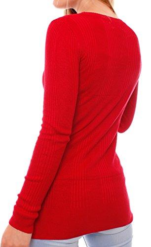 Fragola Moda - Cárdigan - Rebeca - para mujer Rojo