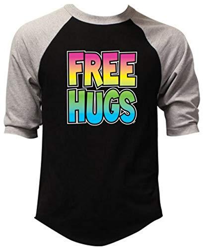 Interstate Apparel Inc New Neon Free Hugs Baseball T-Shirt Gray/Black S-3XL (L, Black/Gray)