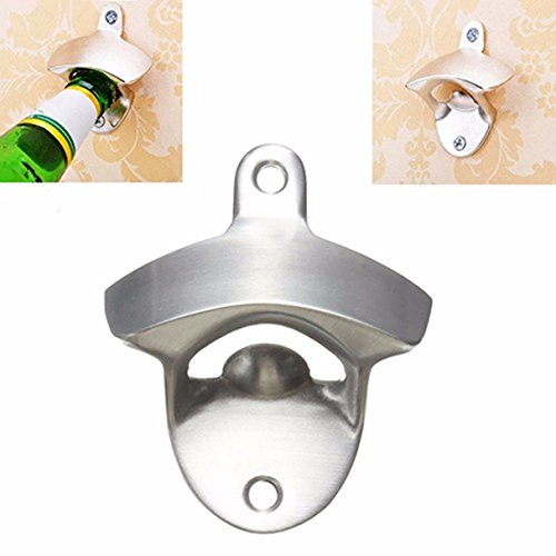 1 Set Stainless Steel Wall Mount Bottle Opener Keychains Pocket Key Ring Chains Wrist Holder Strap First-class Popular Beer Openers Mounted Corkscrew Vintage Utility Travel Accessories (Class Wall Mount First)