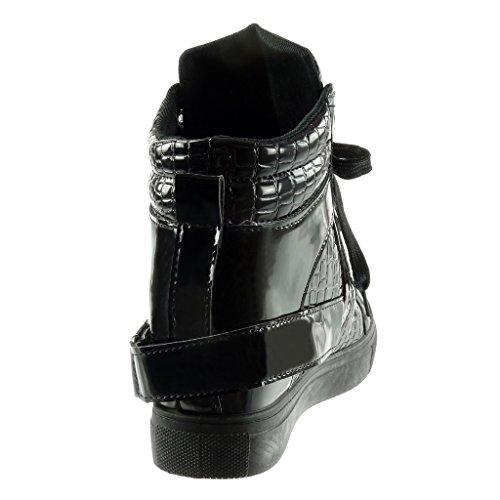 compensé montante femme peau Chaussure 6 Talon Basket CM Mode 5 matelassé lanière serpent Angkorly Compensée de wqK7YIyXXA
