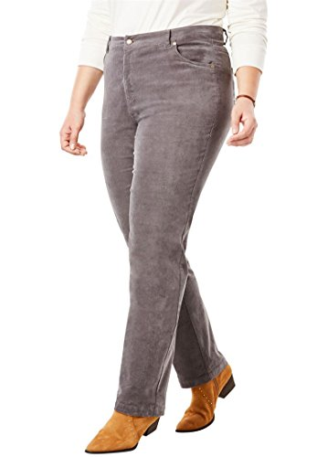 Woman Within Plus Size Corduroy Straight Leg Stretch Pant - Slate, 24 W