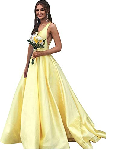 (BBCbridal Women's V Neck Satin Prom Dresses Long Formal Evening Dress Party Ball Gown with Pockets Yellow 6)