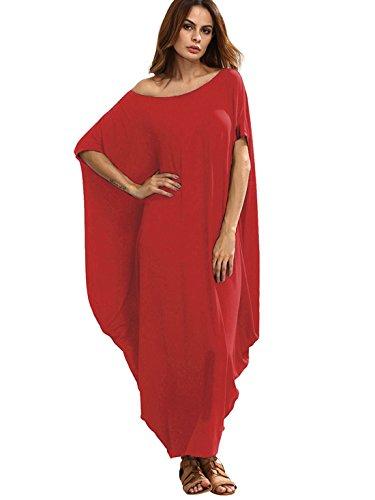 Verdusa Women's One Off Shoulder Caftan Sleeve Harem Maxi Dress Red XS
