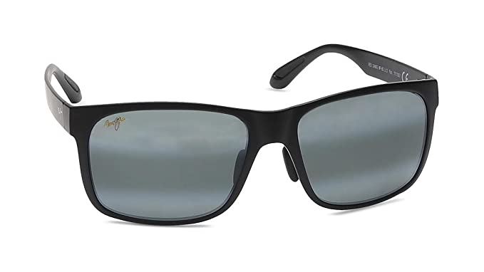 86acb8cbb3 Maui Jim 432-2M Black Red Sands Rectangle Sunglasses Polarised Lens  Category 3  Amazon.co.uk  Clothing