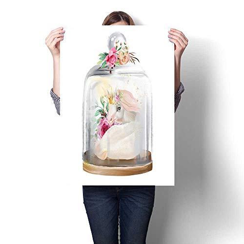 (Wall paintings Beautiful unicorn magic horse in gold crown and flowers in a glass mason jar Fantasy watercolor illustration isolated on white Modern Wall Art for Living Room Decoration 32