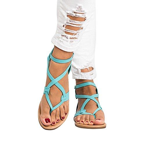 Sheleau Womens Gladiator Sandals Criss Cross Ankle Buckle Thong Flip Flop Thong Summer Flat Shoes Blue