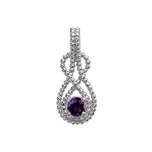 Fine 10k White Gold Round Genuine Amethyst Double Beaded Infinity Hidden Bail Pendant - Hidden Bail Pendant