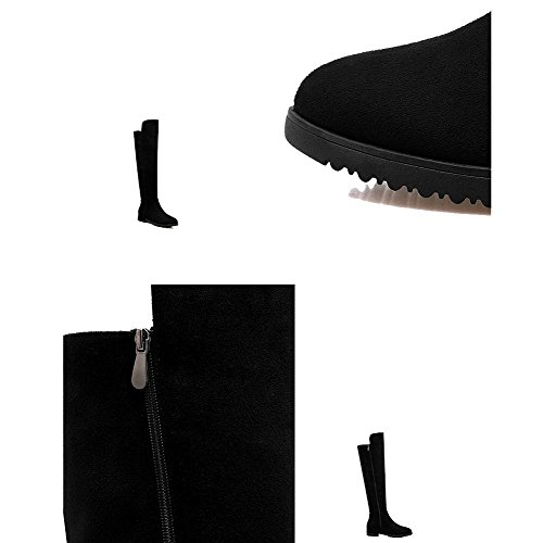 Women Long Boots Leather Low Heels Flat Thicker Plush Warm Knee Shoes BLACK-37 BcJuFDp0