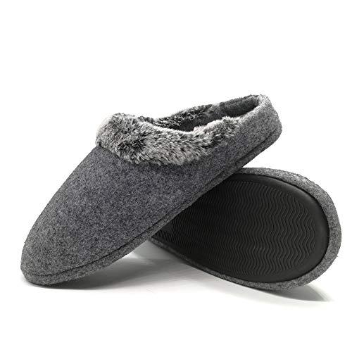 (jiajiale Mens Fur Felt Slippers Comfort House Slippers for Men (US Men 12-13,)