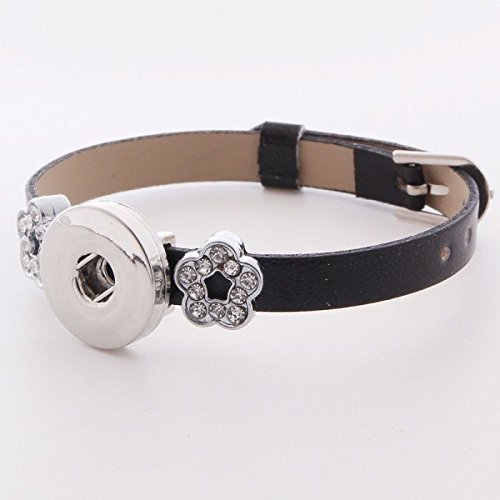 DIY 1pcs Charm Extendable Leather Bracelet for Noosa Snaps Chunk Button A052 ()