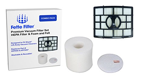 Shark Rotator Powered Lift-Away Compatible Filter Set for models NV650, NV650W, NV651, NV652, NV750W, NV751 & NV752 Vacuums. Replaces Part # XFF650 & XHF650. 1 HEPA Filter and 1 Foam & Felt Filter