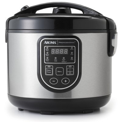 Aroma ARC-988SB Rice Cooker, 16 Cup, Stainless Steel