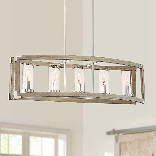 Kerr Wood Brushed Nickel Linear Pendant Chandelier 32 3 4 Wide Modern Farmhouse 5-Light Fixture for Kitchen Island Dining Room – Possini Euro Design