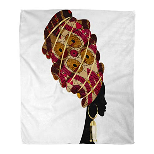 - Emvency Flannel Throw Blanket Portrait Beautiful African Woman in Traditional Turban Kente Head Dashiki Black Women Silhouette Gold Earrings 50x60 Inch Lightweight Cozy Plush Fluffy Warm Fuzzy Soft