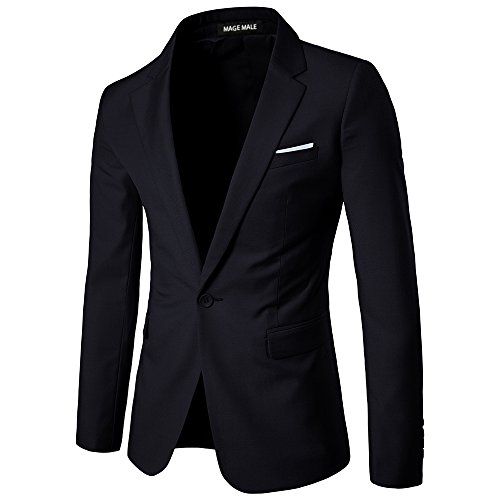 MAGE MALE Men's Slim Fit Blazer Casual One Button Flap Pockets Business Solid Sport Suits Jacket (106-Black, M) by MAGE MALE