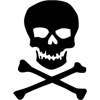 Pirate jolly roger crossbones skull vinyl decal sticker 6 tall gloss black color