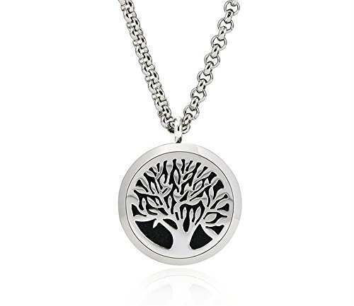Tree of Life Aromatherapy Essential Oil Diffuser Necklace Locket Pendant Jewelry with 24quot Chain  8 Washable Pads  Hypoallergenic 316L Surgical Stainless Steel Jewelry Gift Set