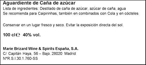 Cachaca Aguardiente de Caña de Azùcar, 1L